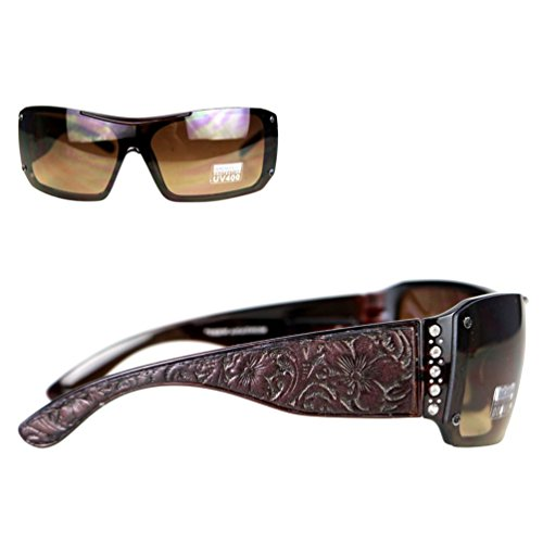 Montana West Ladies Sunglasses Rhinestones Vintage Floral Leather Tooling UV400, Coffee Frame Brown - West Montana Sunglasses Wholesale
