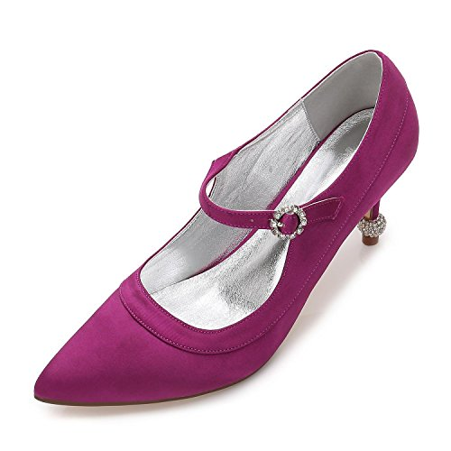 L@YC Womens Work Wedding Bridal Casual Evening Wedding Kitten Heel Party Court Shoes Wedges Satin Prom Purple