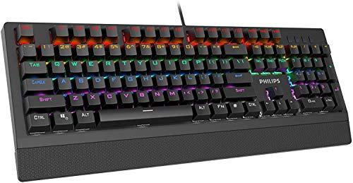 Teclado mecánico para juegos Philips - Teclado con cable con retroiluminación LED RGB con interruptores azules para juegos, PC - Tecla completa N-Rollover - Anti Ghosting
