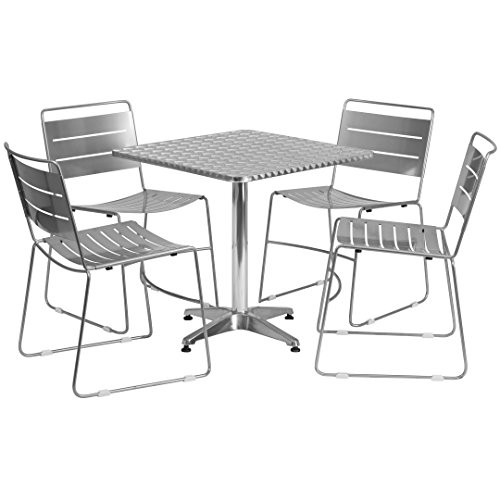 MFO 27.5'' Square Aluminum Indoor-Outdoor Table with 4 Silver Metal Stack Chairs