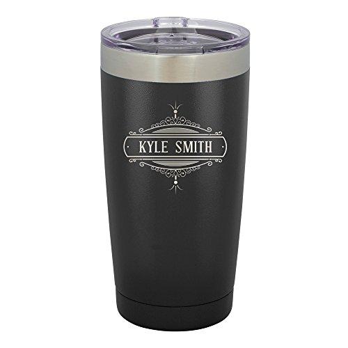 Froolu Monogram For Tumblers - Black Personalized Laser Engraved Tumbler - Hydro Travel Cup Flask Monogram Travel Mugs