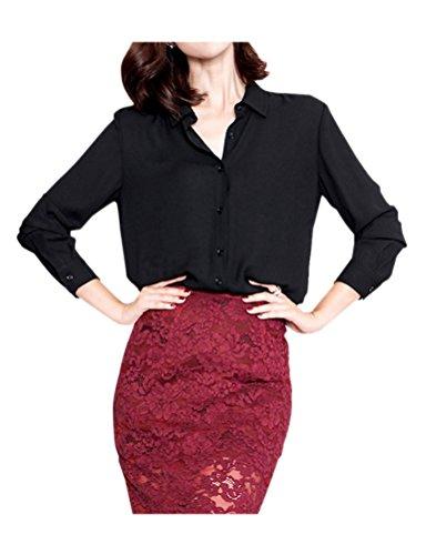 ARJOSA Women's Chiffon Long Sleeve Button Down Casual Shirt Blouse Top (US S/Asian L, 4 Black)
