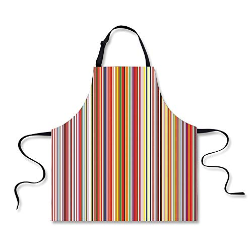 BBQ Apron,Rainbow,Colorful Thin and Thick Vertical Stripes with Digital Effect Vibrant Stylized Lines,Multicolor, Apron.29.5