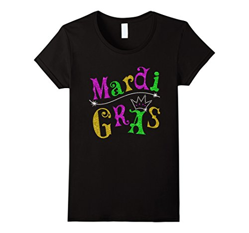 [Women's Mardi Gras Crown Shirt XL Black] (Adult Womens Mardi Gras Queen Costumes)
