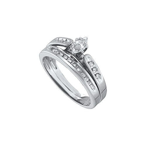Size 10 - 10k White Gold Marquise Diamond Bridal Wedding Engagement Ring Band Set (1/5 Cttw)
