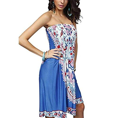 Cover up Strapless Ethnic Boho Bandeau Beach Sun Dress Bathing Suit (Style 02-Blue) ()