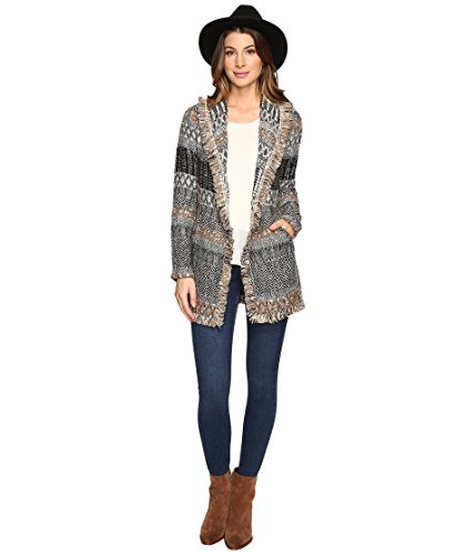Boho-Chic Vacation & Fall Looks - Standard & Plus Size Styless - Lucky Brand Women's Blanket Cardigan Natural Multi Sweater