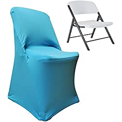 Wedding Linens Inc... 2 PCS Lifetime Spandex Stretch Fitted Folding Chair Covers Wedding Party Decoration Chair Cover - Turquoise