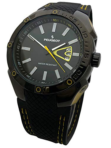 Peugeot Men Water Resistant Sports Watch with Calendar & Black Rubber Strap w/Yellow Stiching