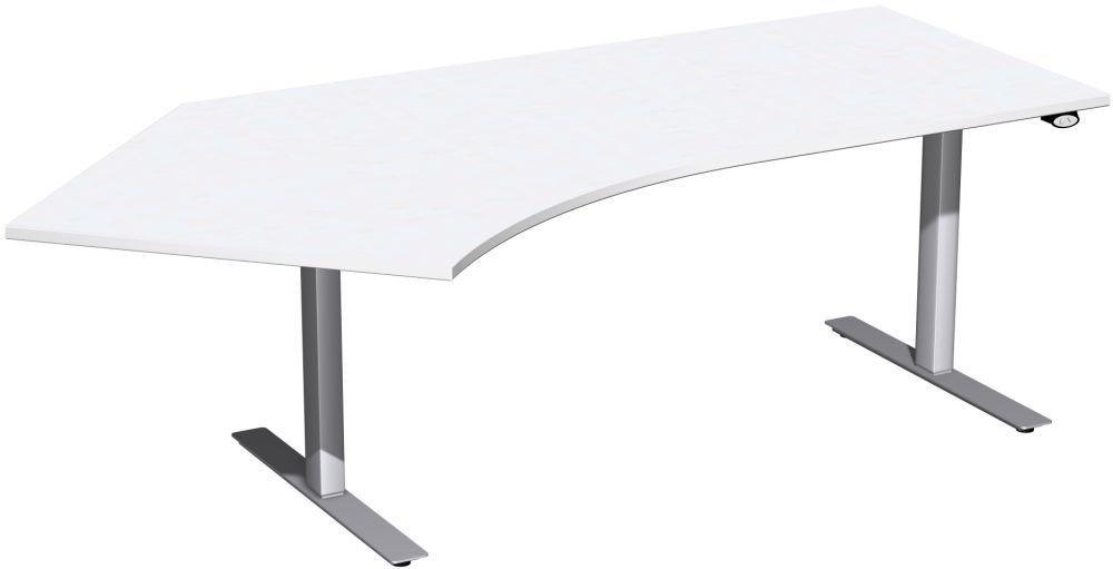 Elektro-Hubtisch 135° links höhenverstellbar, 2166x1130x680-1160, Weiß/Silber, Geramöbel