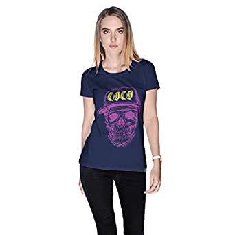 Creo Violet Yellow Coco Skull T-Shirt For Women - S, Navy Blue