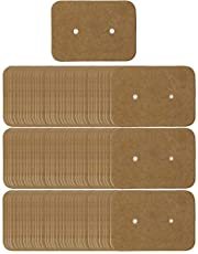 Shapenty 100PCS Earring Display Cards Holder Bulk Small Blank Kraft Paper Ear Studs Earring Store Cards Price Label Tag Jewelry Cards for Craft Jewelry Business Gift Giving, 3.5 x 2.5cm (Bronze)