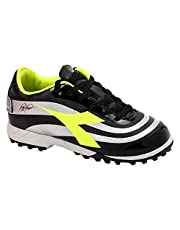 Diadora RB10 Mars R TF Side Logo Print Lace-up Soccer Athletic Shoes for Kids - Black and Yellow, 36