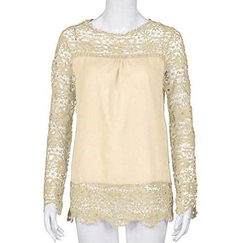 Women Plus Size Hollow Out Lace Splice Long Sleeve Shirt Casual Blouse Loose Top(Beige,Medium) by iQKA (Image #1)