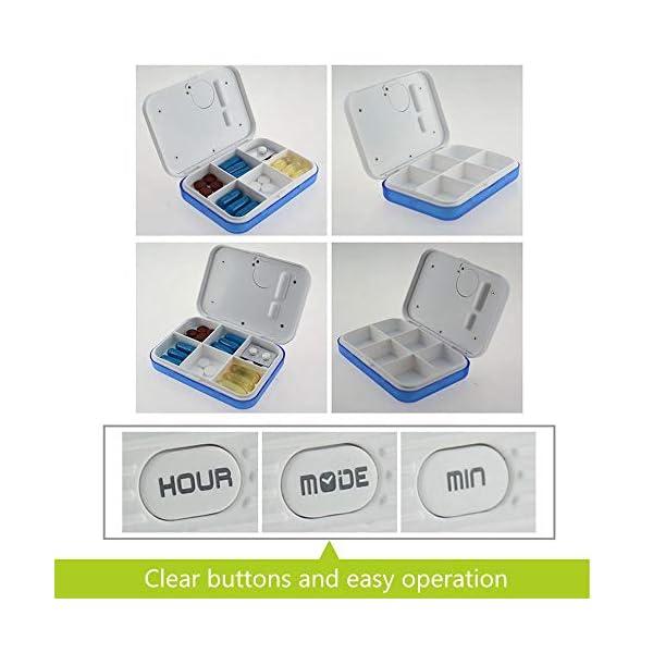 KOBWA - Caja de almacenamiento para pastillas de medicina, digital, ligera, con 5 alarmas de temporizador, pastillero de… 12