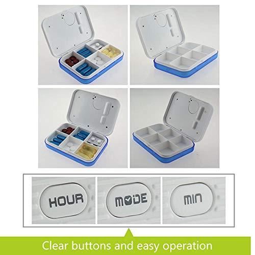 KOBWA - Caja de almacenamiento para pastillas de medicina, digital, ligera, con 5 alarmas de temporizador, pastillero de viaje 11