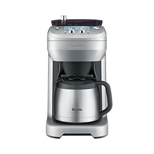 Breville Stainless Steel Programmable Grind Control Coffee Maker with Removable Storage Hopper and Digital Clock Display, Silver