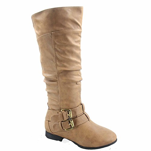- Top Moda Coco-20 Women's Fashion Round Toe Low Heel Knee High Zipper Riding Boot Shoes (8, Taupe)