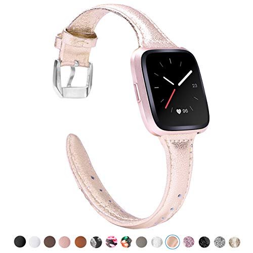 TOYOUTHS Leather Strap Compatible with Fitbit Versa Bands, Slim Genuine Leather Wristbands Replacement for Versa Lite Special Edition Versa Classic Accessories with Quick Release Pins Rose Gold]()