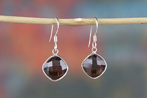 (Faceted Smoky Quartz Earring, 925 Sterling Silver, Genuine Earring, Unique Earring, Brown Color Earring, Birthday Gift, Healing Earring, Hippie Earring, Southwestern Earring, Emotions Earring, Gift)