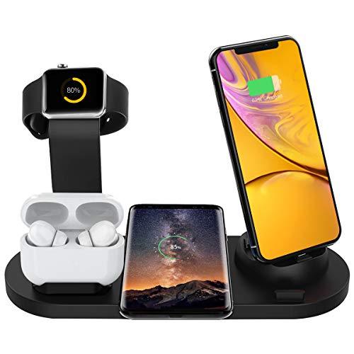 Estación de Carga Inalámbrica, Base de Carga 6 en 1 para Apple Watch y Airpods, Cargador Inalámbrico Rápido Qi…