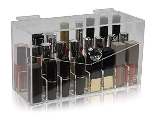 Extra Tall Acrylic Organizer Holder 24 Slots with Lid for Liquid Lipsticks, Rollerball Perfumes and Essential Oils by Vanity Gems