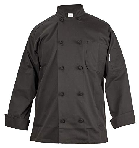 x Chef Coat – Double Breasted Long Sleeve Chef Jacket with Cloth Knotted Buttons- Poly Cotton Blend ()