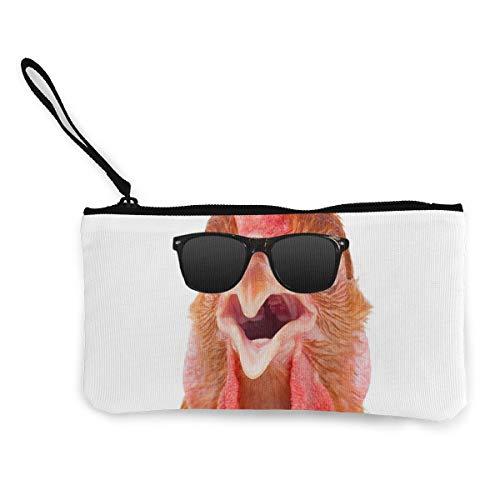 (TLDRZD Chicken Sunglasses Canvas Cash Coin Purse Makeup Bag Cellphone Wristlets with Wrist)