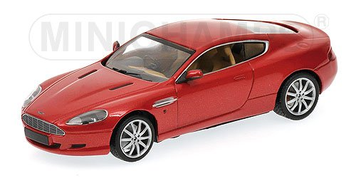 Aston Martin DB9 in Red Metallic Diecast Model Car in 1:43 Scale by Minichamps