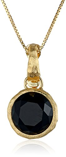 18k Yellow Gold Plated Sterling Silver Black Agate and White Glass Doublets Hammered Pendant Necklace, 18