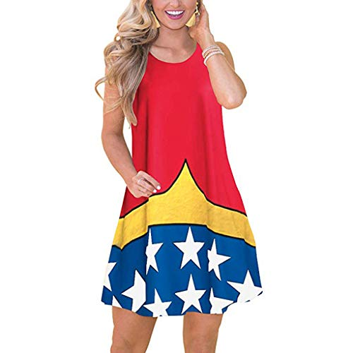 Cardigo Womens Summer America Flag Print Sleeveless Casual Party Beach Boho Dress Red