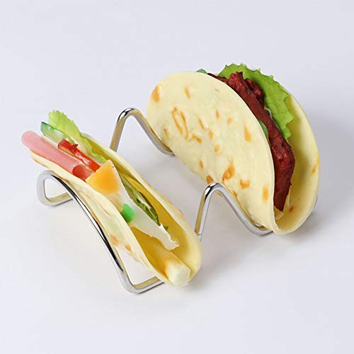 Taco Holder Mini Stainless Steel Display Food Stand Kitchen Storage Portable Rack(2 slots2Slots) by EUGNN (Image #5)