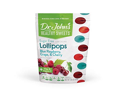 Sweet Cherry Lollipop - Dr. John's Healthy Sweets Fruit Lollipops: Cherry, Grape and Blue Raspberry - Sugar Free with Xylitol - 3.85 oz bag