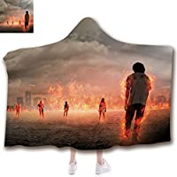 Fashion Blanket Ancient China Decorations Blanket Wearable Hooded Blanket,Unisex Swaddle Blankets for Babies Newborn by,in Flame in the Water under Storm Clouds Image,Adult Style Children Style