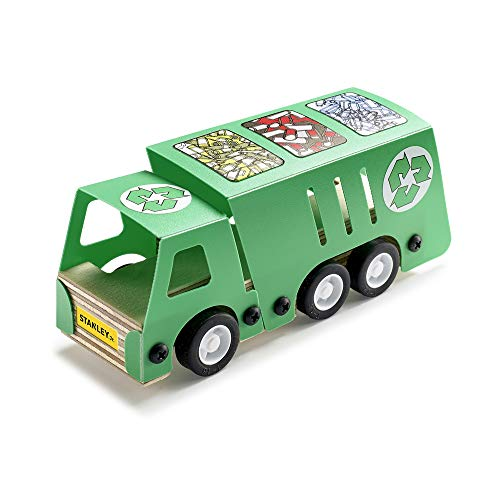 Stanley Jr. Recycling Truck Toy Wood Craft Small Kit - DIY Toy Build It Yourself Woodworking Kit for Kids ()