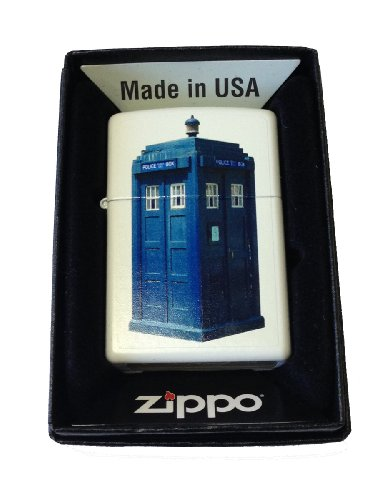 Zippo Custom Lighter - British Blue Tardis Police Box White Matte