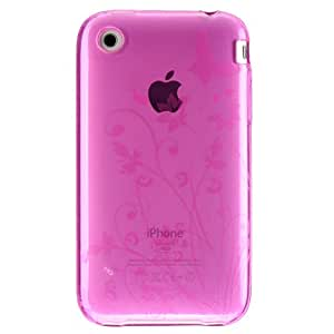 Premium Hard Crystal Plastic Skin Snap-on Case for Apple iPhone 3G, 3GS 3G-S - Hot Pink Butterfly Floral Flower Print