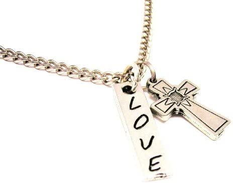 ChubbyChicoCharms Romance Novel Stainless Steel Rope Chain Necklace with White Crystal Accent