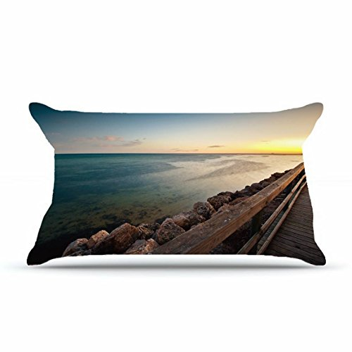 Jarrod King Size 20X36 Pillowcase Inches Cotton Pillowcases Decorative Pillow Cover Case With Hidden Zipper Decor Cushion Covers   Nature Bridge Handrails Boards Images Wooden Sea Bank Horizon For Sof