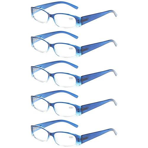 Reading Glasses 5 Pack Men Women Flexible Spring Hinge Readers Includes Sun Readers (5 Pack Gradient Blue, 5.0)