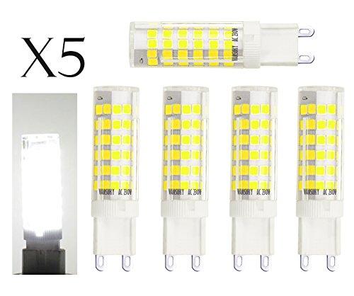 5pcs g9 75-smd 2835 7 W LED luz bombilla luz, 6000 K (blanco frío) 650LM, ...