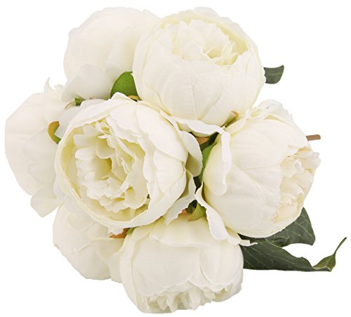 (Artificial Flower Peony Silk White 7 Heads 3 Leaves Floral Arrangements Vintage DIY Home Decoration Party Wedding Festival Bar Decor)