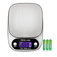 Vitskay Kitchen Multifunction Scale,food scales digital weight, Baking & Cooking Scale with LCD Display and Tare Function, Easy to Clean .22lb 10kg,Silver ,Stainless Steel (Batteries Included)