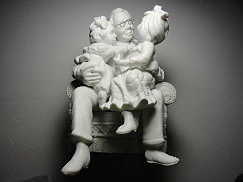 Winter Silhouette Grandpa and Two Granddaughters Figurine