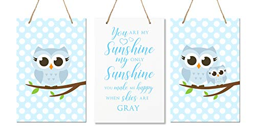 "LifeSong Milestones You are My Sunshine 3 Piece Owl Childrens Wall Decor Signs for Kids, Bedroom, Nursery, Baby's Boys, Girls Room, Size 8"" x 12"" Proudly Made in USA (Blue)"