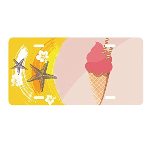 DIYthinker Biscuits Egg Cone Red Ice Cream License Plate Car Decoration Starfish Plumeria Rubra ()