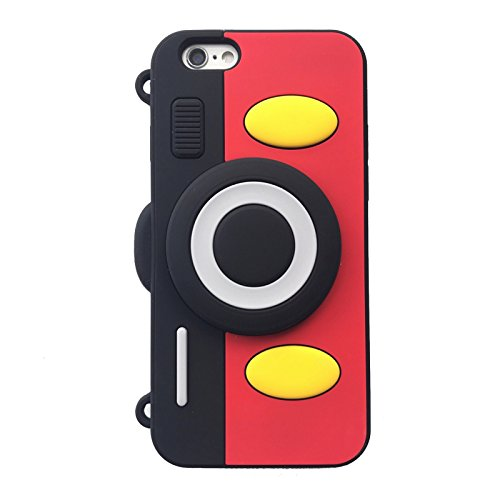 Soft Silicone Mickey Mouse Camera Case with Length Adjustable Strap for iPhone 6 / 6s iPhone6 iPhone6s Regular 4.7 Screen Red Black Color 3D Disney Cartoon Cute Lovely Design Gift Girls Teens Kids Boy