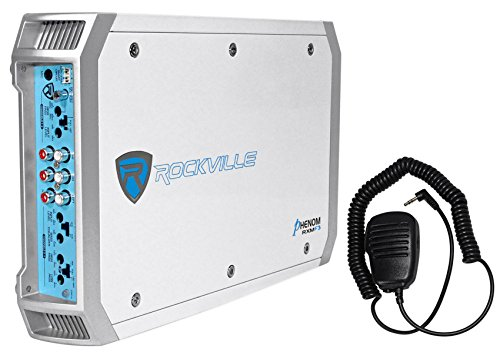Rockville RXM-F3 1600 Watt Marine/Boat 4 Channel Amplifier Amp+PA Microphone