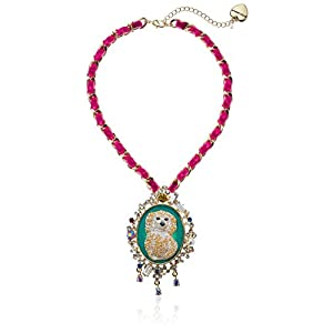 Betsey Johnson Womens Granny Chic Poodle Cameo Pendant Necklace, Multi, One Size