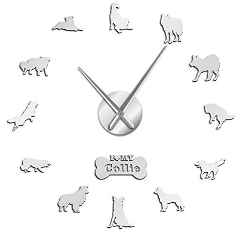 Liubaorong Border Collie Dog 3D DIY Wall Clock Border Colly Silhouette Acrylic Mirror Sticker Mute Clock Watch Pet Lover Gift37inch